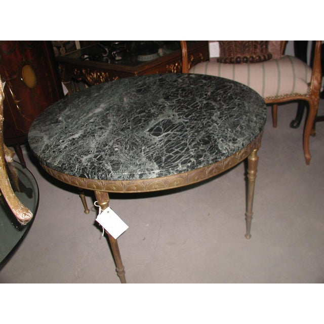 Bronze Neoclassical Marble & Mirror Coffee Table - Image 8 of 10