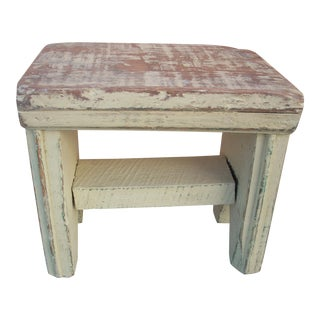 Primitive Yellow Painted Stool