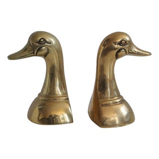 1980s Brass Duck Head Bookends