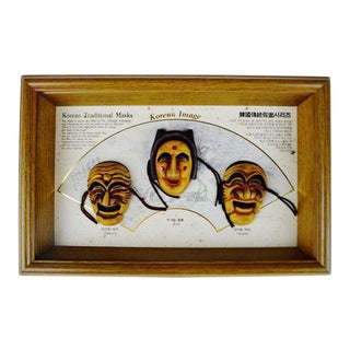 Vintage Korean Traditional Masks in Shadow Box Frame
