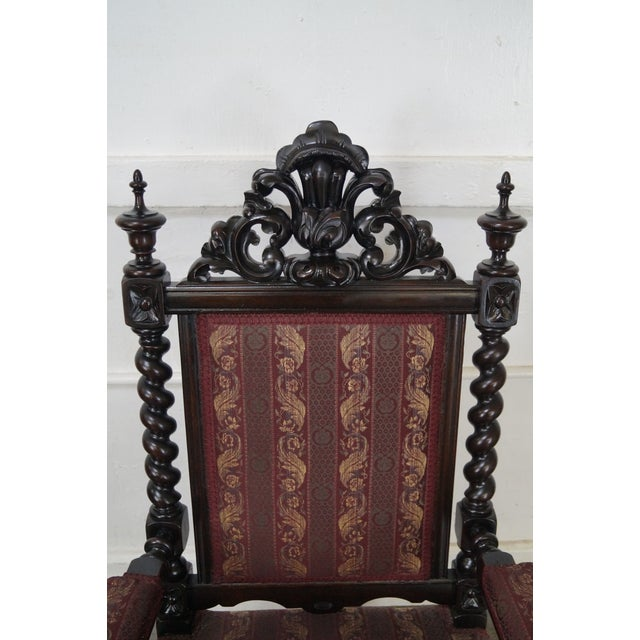 Image of 19th Century Antique Gothic Rosewood Barley Twist Throne Chair