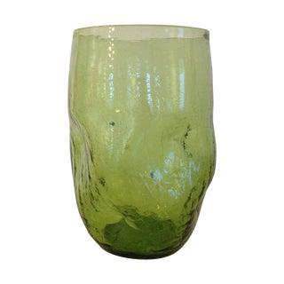 Vintage 1960s Blenko Green Crackle Vase