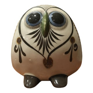 Mid-Century Modern Hand Painted Pottery Owl