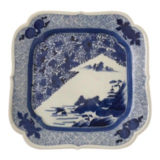 Antique Japanese Blue & White Imari Plate