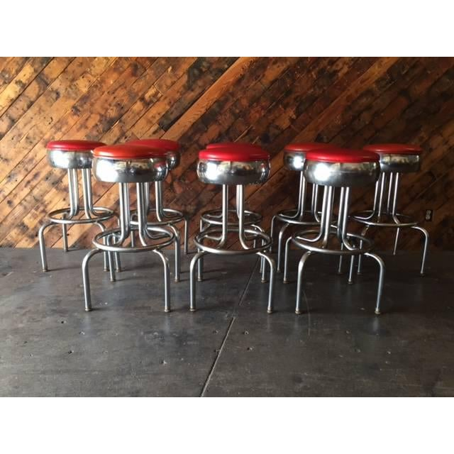 Mid-Century Chrome Diner Bar Stools- Set of 8 - Image 5 of 8