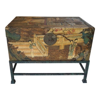 Antique Hand Painted Chinese Wedding Trunk on Iron Stand-circa 1900