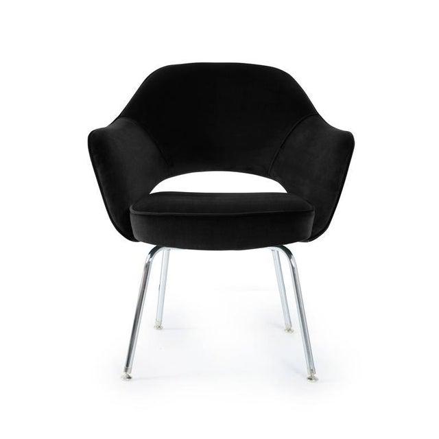 Saarinen Executive Armchairs in Black Velvet, Set of Six - Image 2 of 4