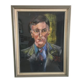 Mid-Century Portrait of a Man Signed