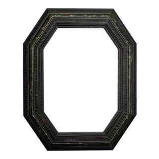 Dutch Ebony Octagonal Mirror With Faux Marble Edge