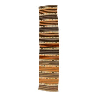 Vintage Striped Turkish Kilim Runner - 2′7″ × 11′4″