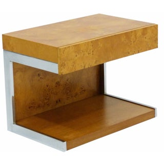 Milo Baughman Style Burl & Chrome Side Table