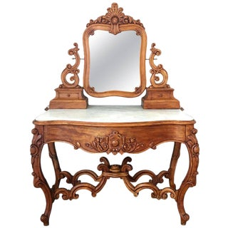 Carved Victorian Mahogany Vanity or Dressing Table with Attached Mirror