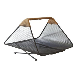 Tony Paul for Woodlin-Hall Iron & Rush Magazine Rack / Log Holder