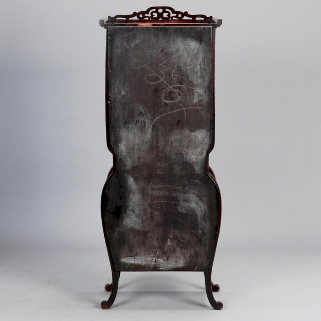 Tall Narrow Chinese Carved Wood Vitrine Display Cabinet - Image 9 of 11