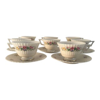 "Lenox ""Sonnet"" Floral Tea Cups & Saucers - Set of 8"