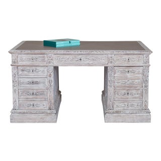 Antique Henri II Carved Painted French Oak Desk circa 1890