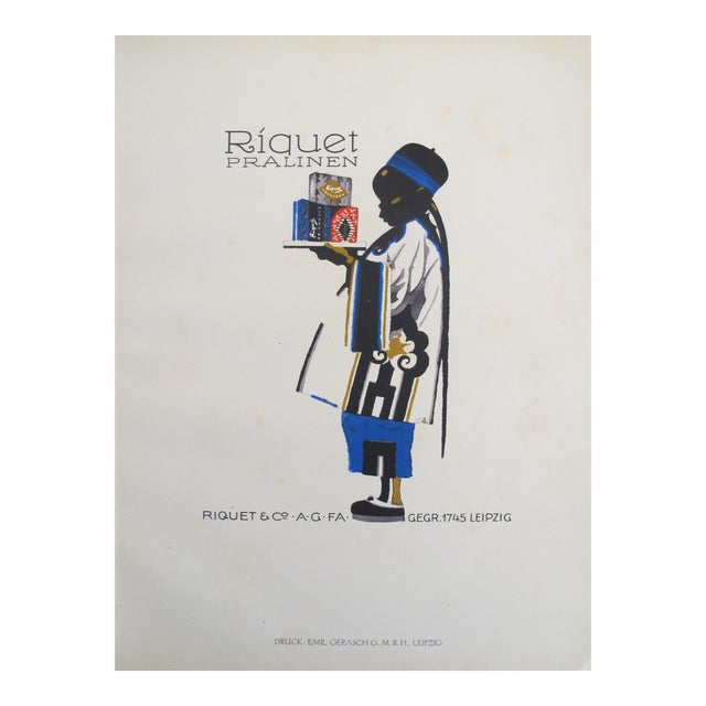 1926 German Poster, Riquet Pralinen, Boy with Tray - Image 1 of 3
