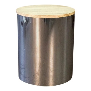 C. Jere Chrome Drum Table With Travertine Top