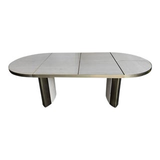Italian Travertine Marble Oval Dining Table, 1970