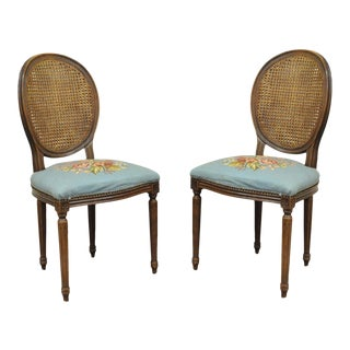 Vintage W & J Sloane French Louis XVI Style Needlepoint Side Chairs - A Pair