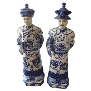 Chinese Blue and White Figurines - A Pair