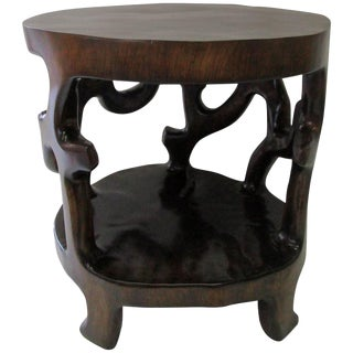 Sculptural 1960s One Single Piece Walnut Side Table