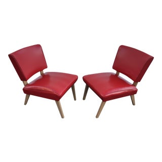 Mid-Century Viking Artline Red Vinyl Slipper Chairs - A Pair