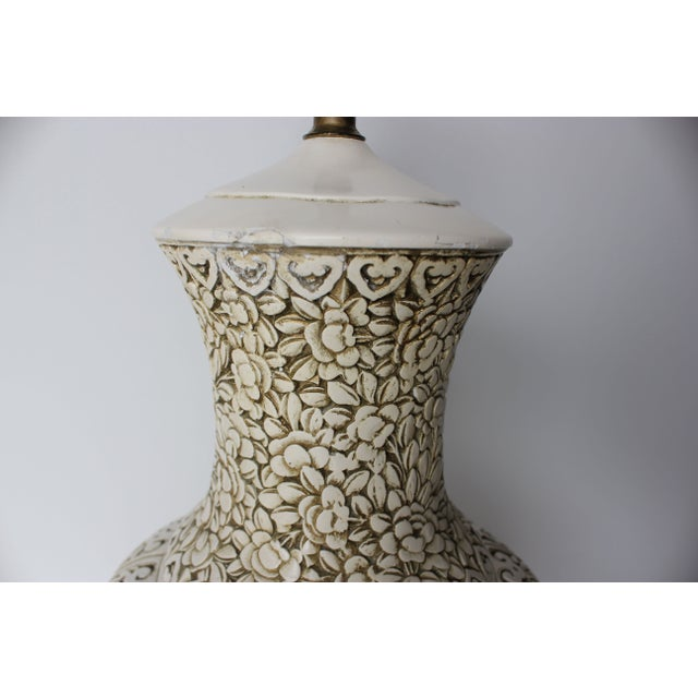 Plaster Relief Table Lamp with Floral Landscape - Image 6 of 7
