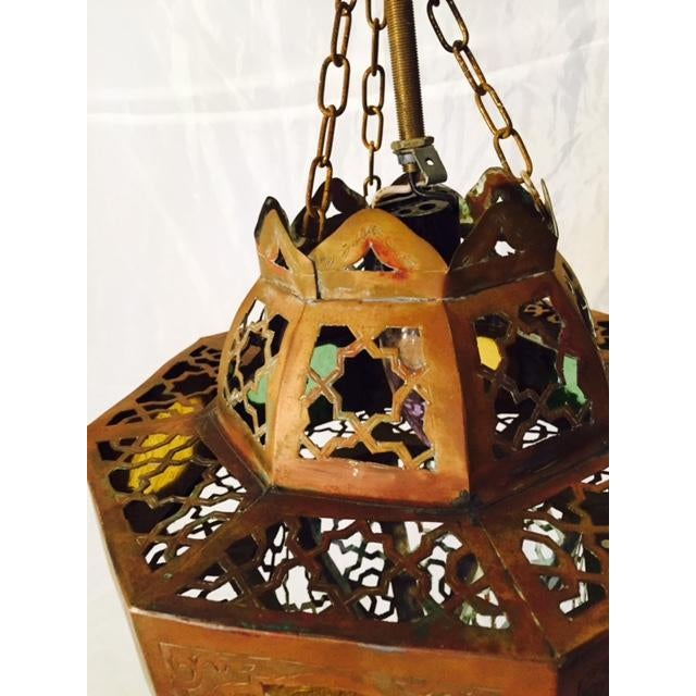 Small Moroccan Brass & Glass Chandelier - Image 4 of 7