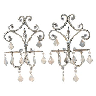 Retro Style Crystal Tear Sconces - Pair