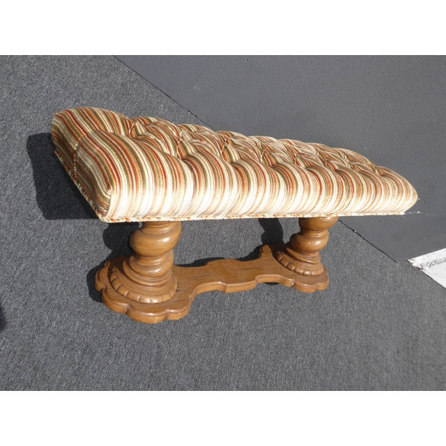 Vintage Mid-Century Tufted Stripped Bench - Image 7 of 10