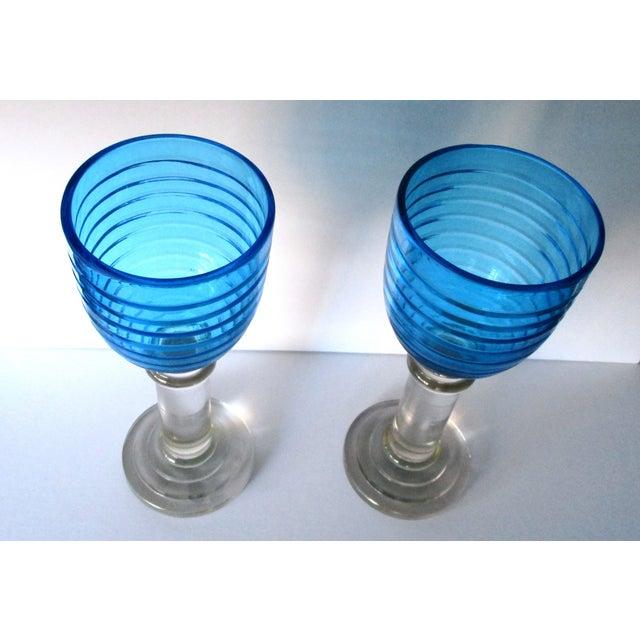 Vintage 14-Inch Crystal Hurricane Lamps - Pair - Image 3 of 6