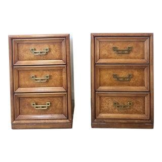 Henry Link Mandarin Faux Burl Wood Nightstands - A Pair