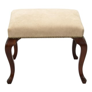 Regency Stool with Cabriole Legs and New Upholstery