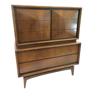 Mid Century Kagan Style United Furniture Co Diamond Front Highboy Dresser