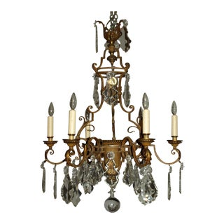 Antique Chandelier. Gilt Iron Chandelier with Crystal