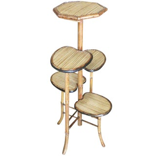 "Bamboo ""Lilly Pad"" Five-Tier Pedestal Floor Stand"