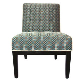 Upholstered Slipper Chair in Geometric Pattern