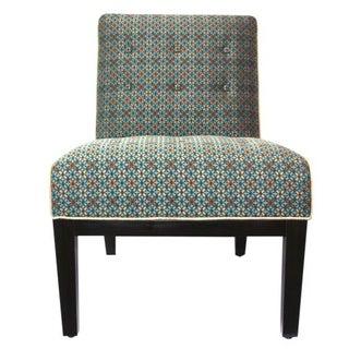 Upholstered Slipper Chair in Geometric Pattern