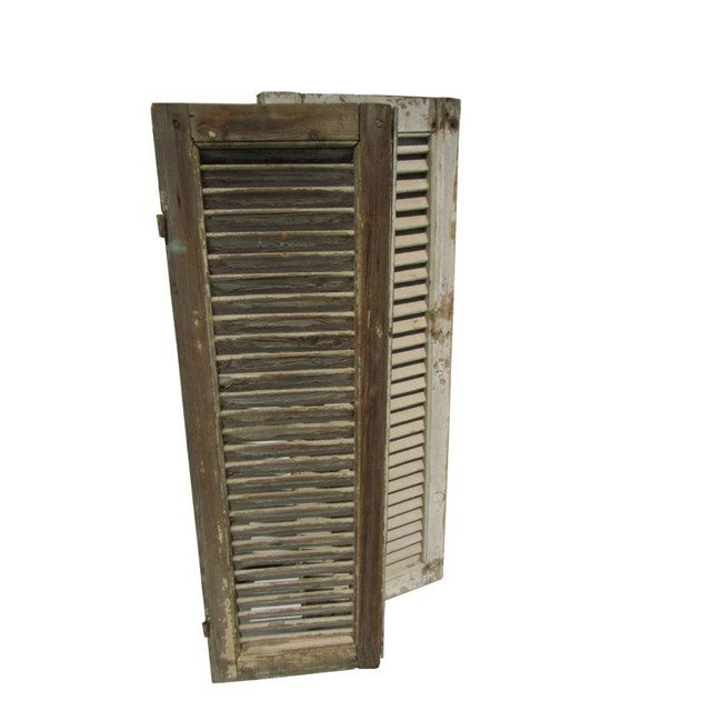 Rustic White European Louvered Shutters - A Pair - Image 5 of 5