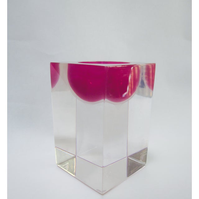 Thick Block Lucite Candle Holder, Signed - Image 4 of 8