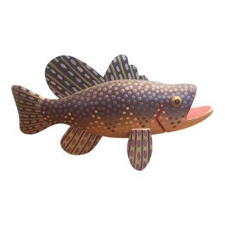 Vintage Hand Carved Folk Art Wood Fish, Signed by Artist Richard Ribant