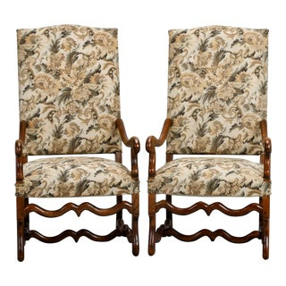 French Os de Mouton High Back Arm Chairs - a Pair