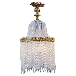 Antique French Crystal Beaded Light
