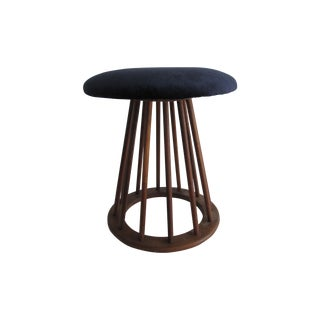 Walnut Stool with Velvet Upholstery