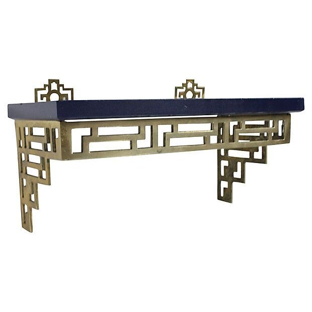 Image of Chinoiserie Brass Wall Shelves - A Pair