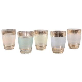 Mid-Century Modern Gold Rimmed Glasses - Set of 5