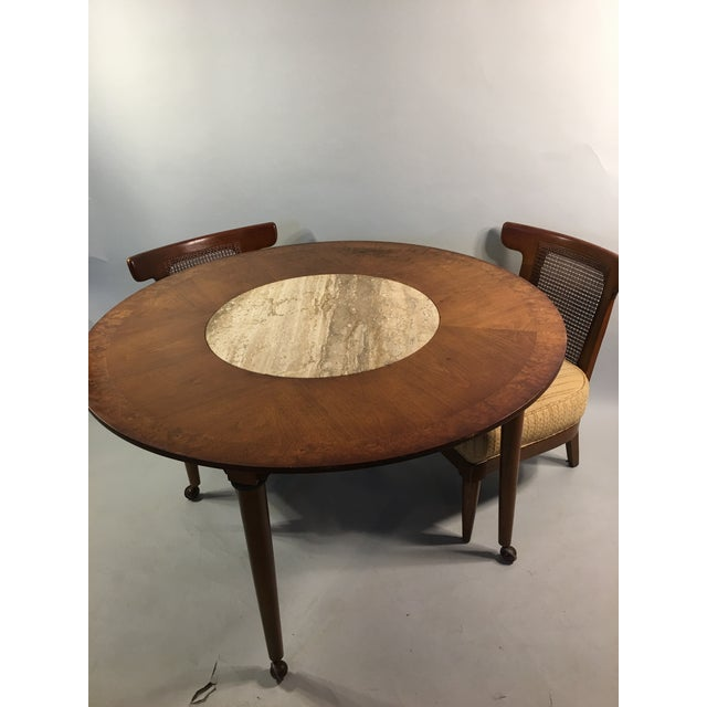 Mid-Century Round Marble Insert Dining Table & Chairs - Image 4 of 11