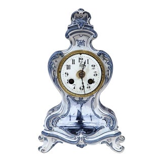 19th C. French Blue & White Delft Clock