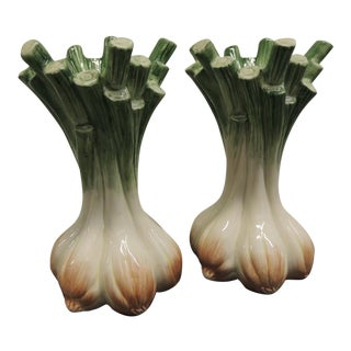 Hand Painted Ceramic Onion Candle Holders - Pair